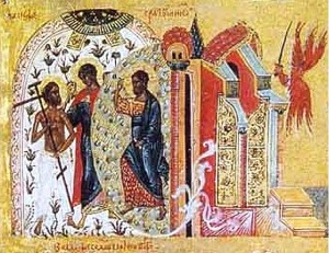 Christ enters Paradise