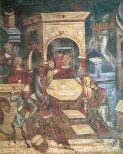 Patimile Mantuitorului - Iuda primind argintii