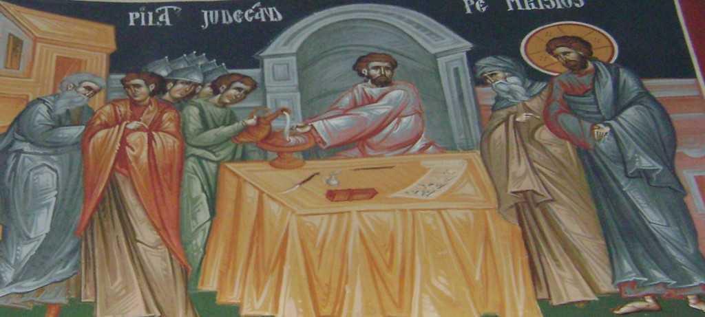 Pilat judecand pe Hristos - biserica Sf Grigorie Palama, Bucuresti, Mihai Coman