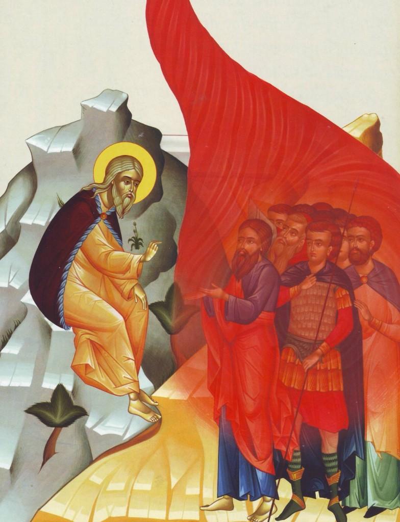 Sf. Ilie face sa coboare foc din cer peste ostasii trimisi de Ohozia
