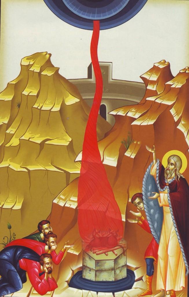 Sf. Ilie si slujitorii lui Baal - foc din cer peste jertfele idolesti