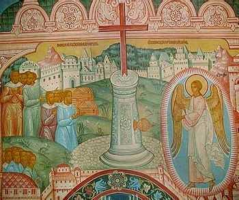 Поклонение Кресту. Роспись Крестовоздвиженской церкви Толгского монастыря (фрагмент)