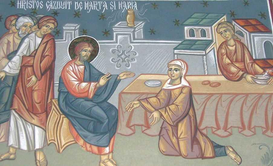 Hristos gazduit de Marta si Maria- man. Stramba, Gorj
