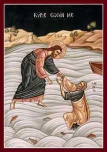 Hristos intinde mana lui Petru scufundat in mare