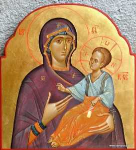 Mother-of-God-with-Child-egg-tempera-on-wood-26-x-25-cm-2004-