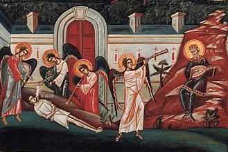 ingerii iau sufletul saracului Lazar si il duc in rai