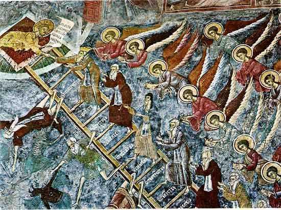 Scara-Sfântului-Ioan-Sinaitul-pictată-pe-zidul-nordic-al-Mănăstirii-Suceviţa