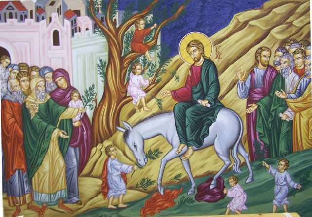 """INTRAREA IN IERUSALIM. Predica Sf. Vasile al Kinesmei despre ENTUZIASMUL NESTATORNIC si CALEA IMPARATEASCA. <i>""""Orice s-ar intampla cu voi, sa nu scapati din maini haina lui Hristos, sa mergeti neabatut pe linia urmarii Lui!""""</i>"""