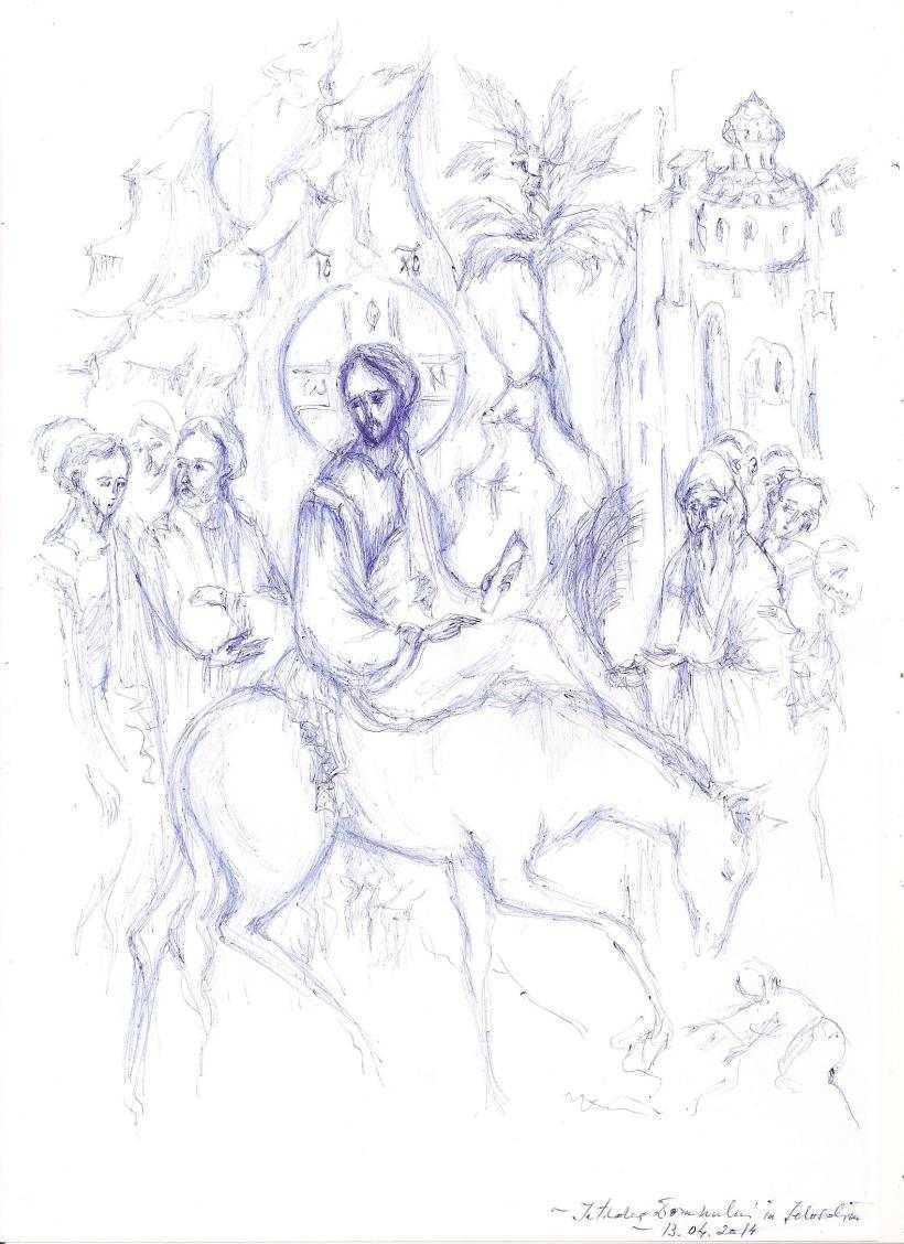 INTRAREA IN IERUSALIM. Predica Sf. Vasile al Kinesmei despre ENTUZIASMUL NESTATORNIC si CALEA IMPARATEASCA. <i>&#8220;Orice s-ar intampla cu voi, sa nu scapati din maini haina lui Hristos, sa mergeti neabatut pe linia urmarii Lui!&#8221;</i>