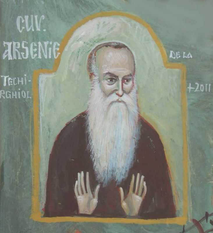 Cuviosul Arsenie, bis. grigore alexandrescu, 15x15 cm, acryl 2011