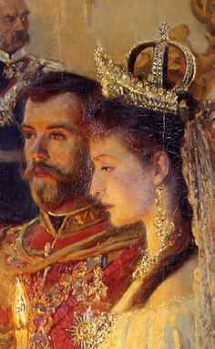 Detail of Tuxen's painting of the marriage of Tsar Nicholas II and Alexandra Feodorovna, 26 November 1894.
