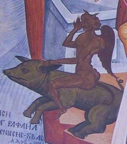 dracii intrati in porci la Gadara - detaliu icoana