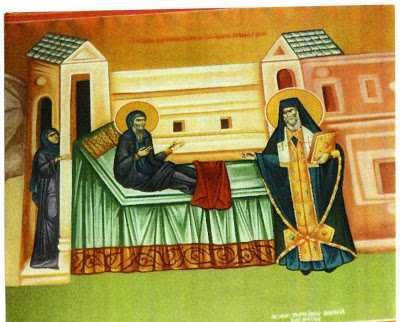 St. Gerasimos rising miraculously to embrace his relative, St. Makarios of Corinth