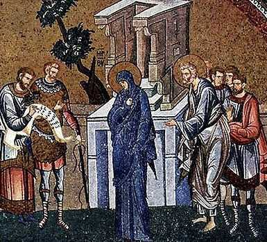 Mary and Joseph register for the census