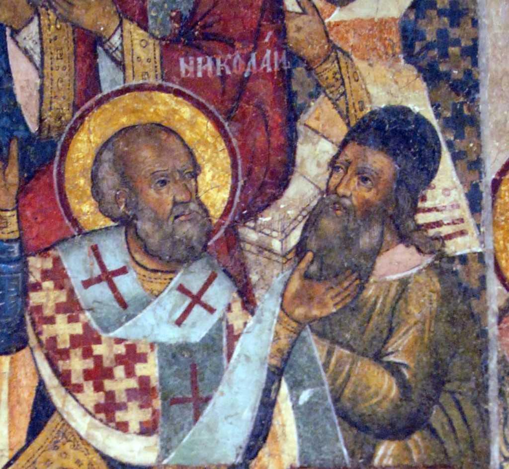 Sfantul Nicolae palmuind pe Arie detaliu icoana ruseasca
