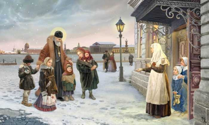 St. John of Kronstadt leads homeless children in the orphanage