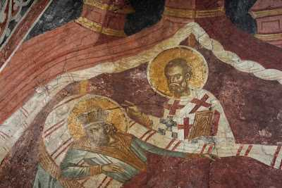 St. Nicholas appearing to St. Constantine in a dream detail - Decani