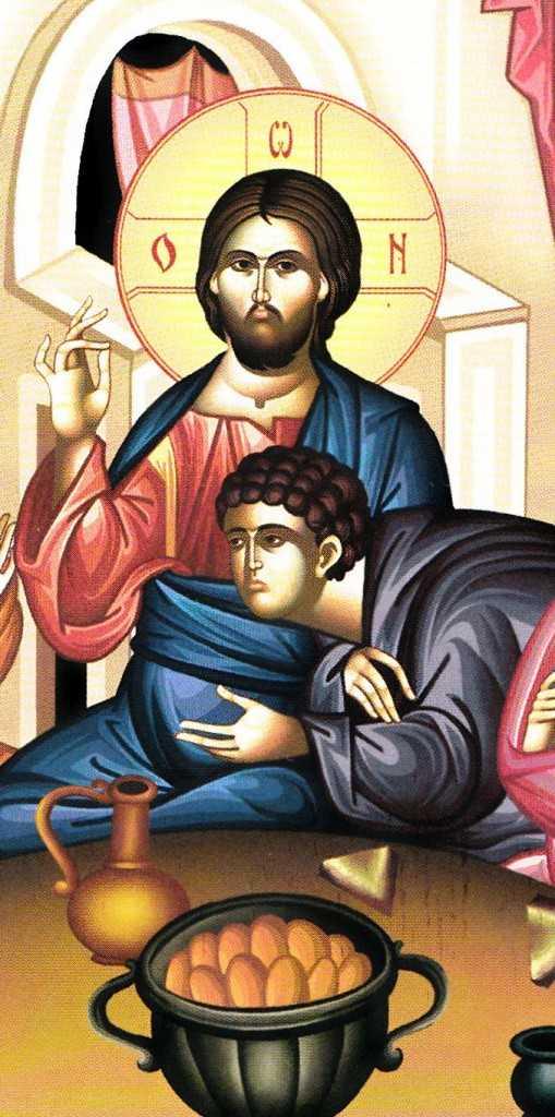detaliu Cina de taina - Ioan pe pieiptul lui Iisus