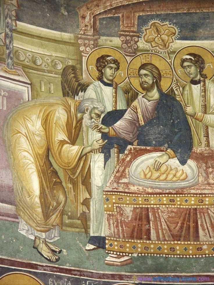 Frescoes Old Nagorichno 12-14 centuries - impartasire apostol - euharistia