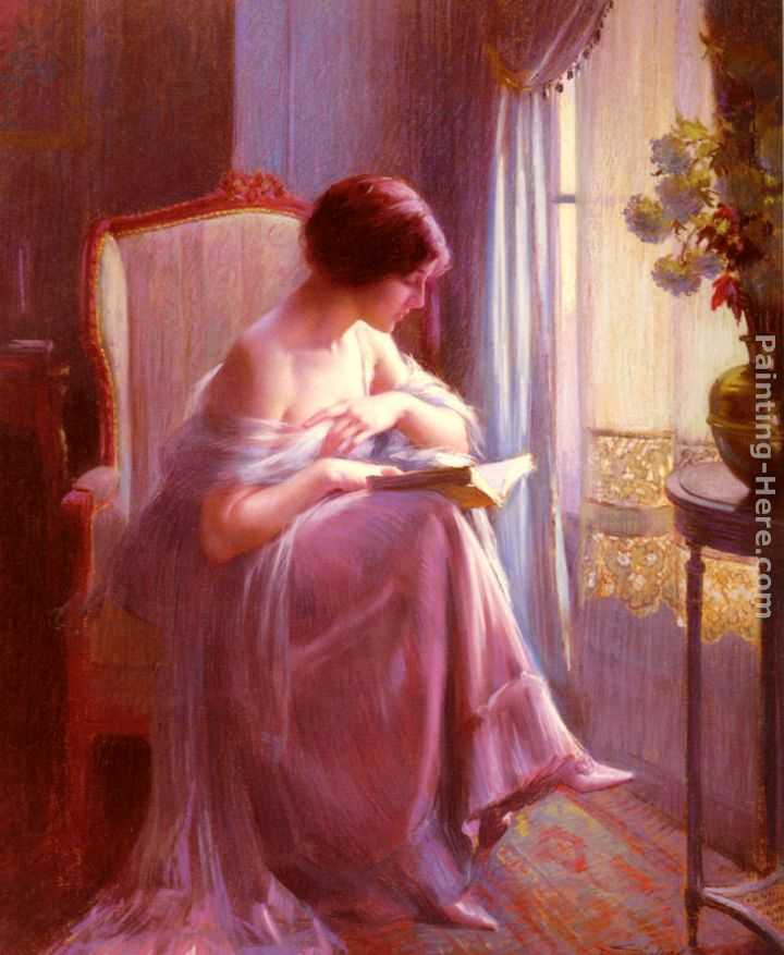 Young Woman Reading By A Window Painting
