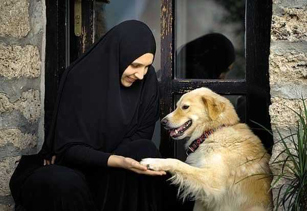 nun with dog