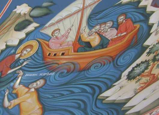 Hristos umbland pe mare