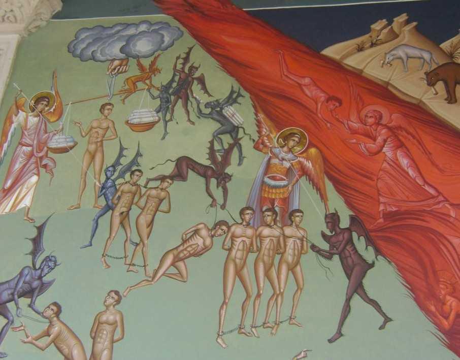 detaliu Judecata fresca ext. Sf. Gheorghe Nou Bucuresti pictura noua - ingeri, demoni, suflete robite, iad
