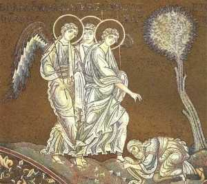 Abraham bows before the Angels