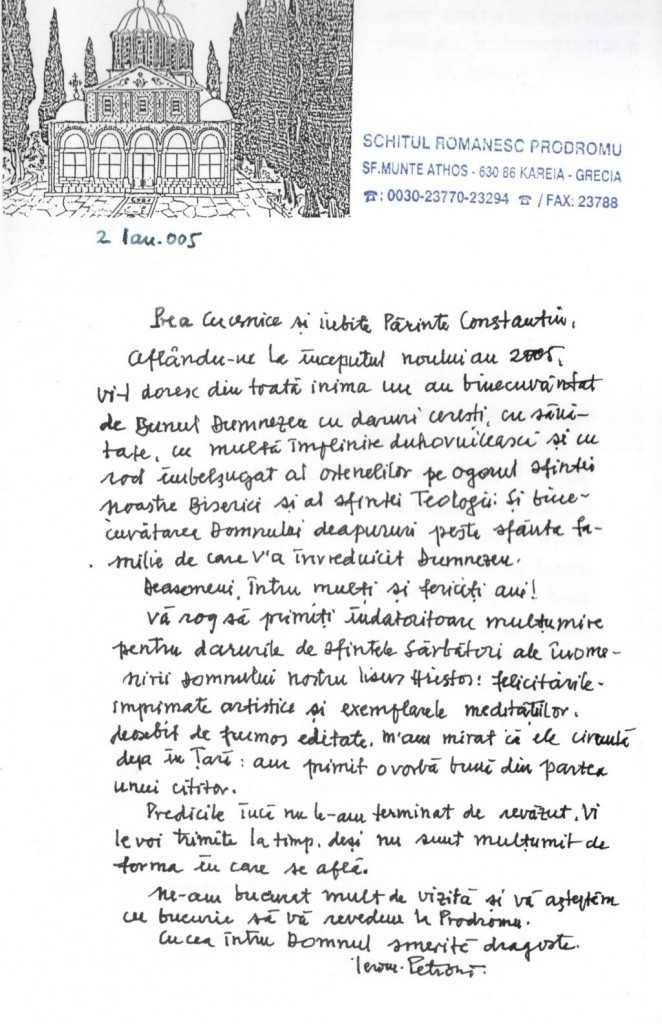 scrisoare parintele Petroniu care pr. Coman