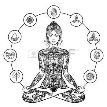 45347912-decorative-yoga-meditation-poster-of-sitting-crossed-legged-in-stress-relieving-lotus-pose-woman-bla