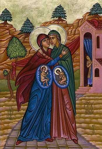 Elizabeth visited by the Theotokos