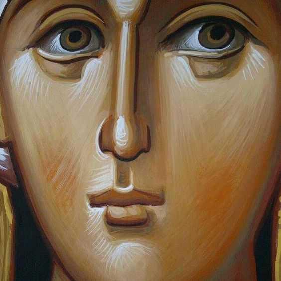 detaliu chipul ochii Maicii Domnului