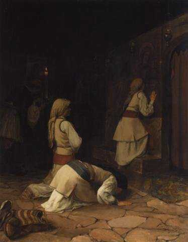 theodoros-rallis-praying-in-church-1876