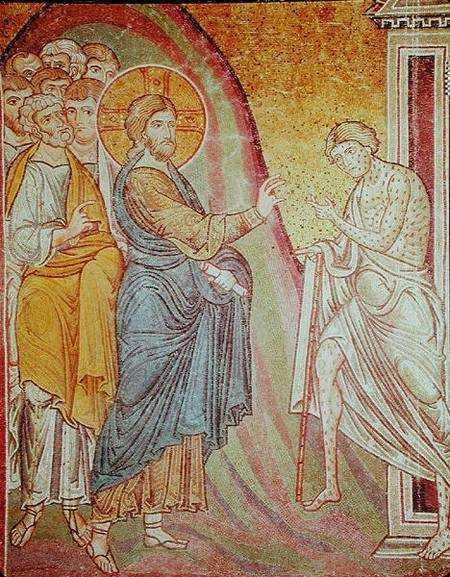 XIR223834 Jesus healing a leper (mosaic) by Byzantine School, (12th century) mosaic Duomo, Monreale, Sicily, Italy Giraudon out of copyright